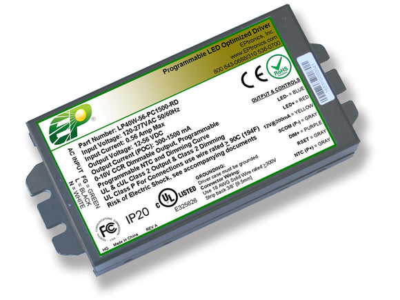 LP Series 40 Watt AC/DC LED Driver (Flicker Free, Programmable, Constant Current, Dimming Options, UL Recognized)