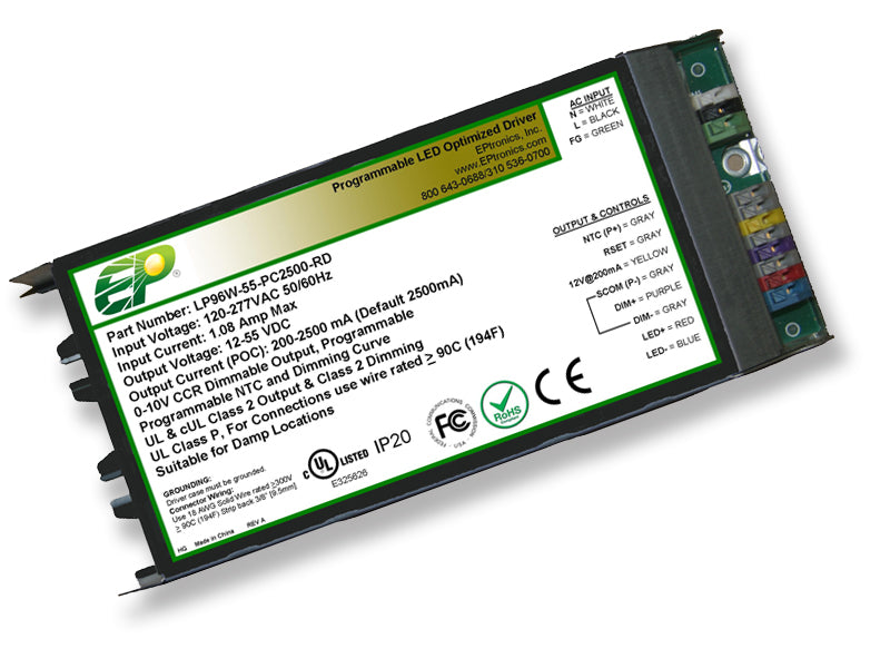 LP Series 96 Watt AC/DC LED Driver (Flicker Free, Programmable, Constant Current, Dimming Options, UL Recognized) - LiteControls
