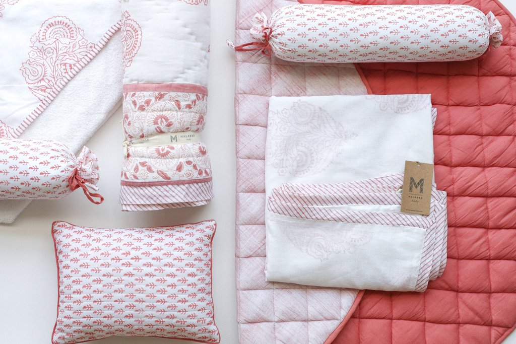 Malabar baby Australia Reverie Craft Handmade Bedding Pink City Quilt Blanket Pillow