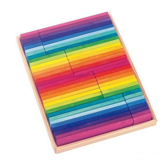 Gluckskafer Rainbow Building slats in tray (64pcs)