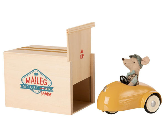 Maileg Little Brother Mouse with Car in Garage (Yellow)