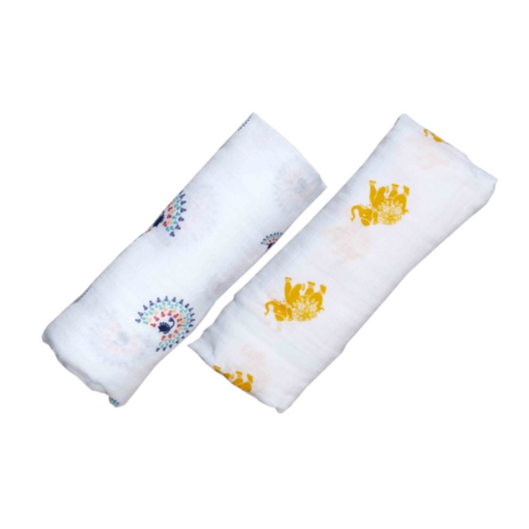 Organic Swaddle Set - Majestic Animals (Elephant / Peacock)
