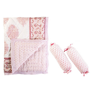 Pink City Reversible Quilt & Bolster Set