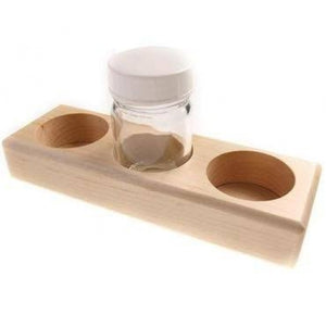 Wooden holder with 3 glass jars (50ml)