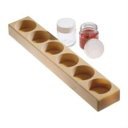 Wooden holder with 6 glass jars (50ml)