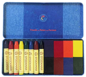 Stockmar Wax Crayon with Black (8 Sticks + 8 Blocks in a Tin)