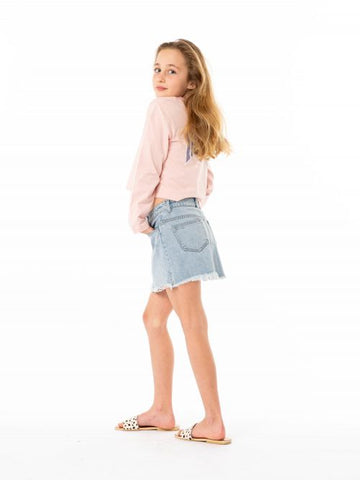 CELESTE HIGH RISE DENIM SKIRT-GIRLS