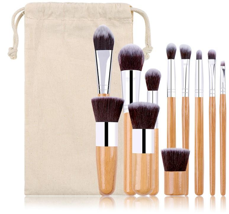 Kabuki Bamboo Makeup Brush Complete Set, 11 pcsKiraVogue