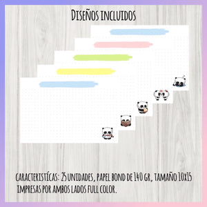 Set de 25 Flashcards Panditas uwu