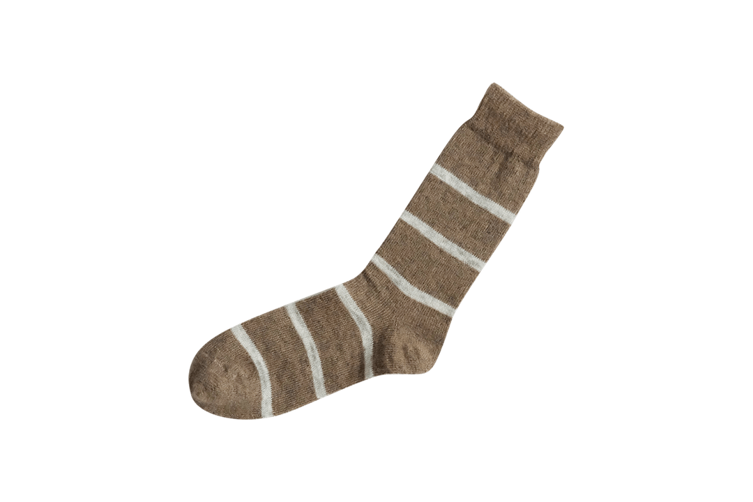 MOHAIR WOOL BORDER SOCKS