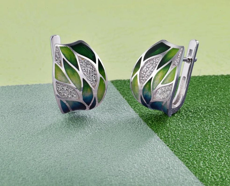 Silver Green Earrings - shoplatenight