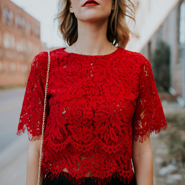 Red Lace Short Sleeve Shirt - shoplatenight