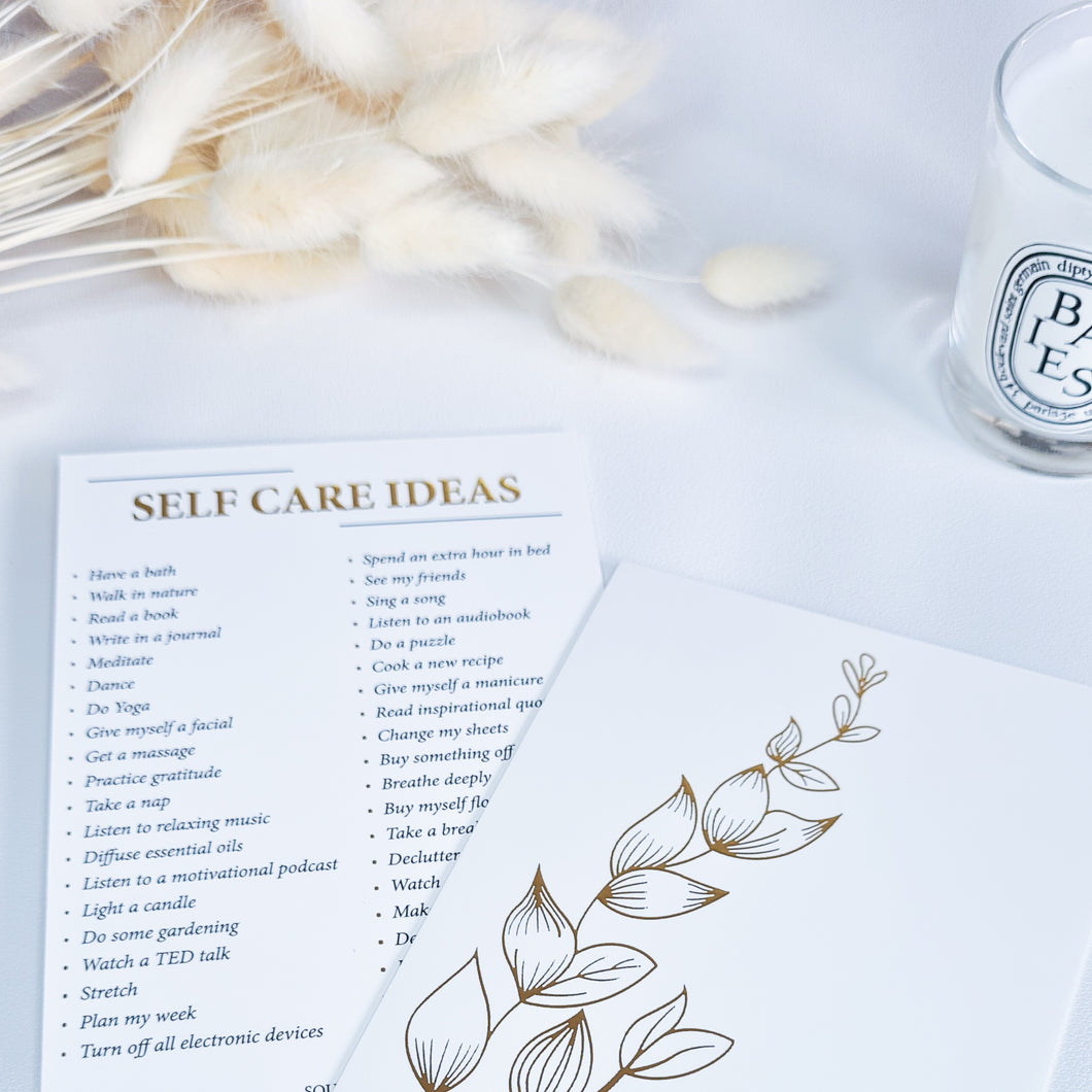 self care planner ideas gold foil card
