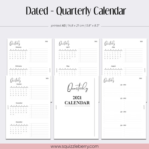 Dated - Quarterly Calendar - A5 | SquizzleBerry