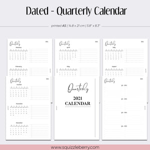 Dated - Quarterly Calendar - A5