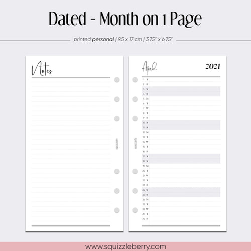 Dated - Month on 1 Page - Personal | SquizzleBerry