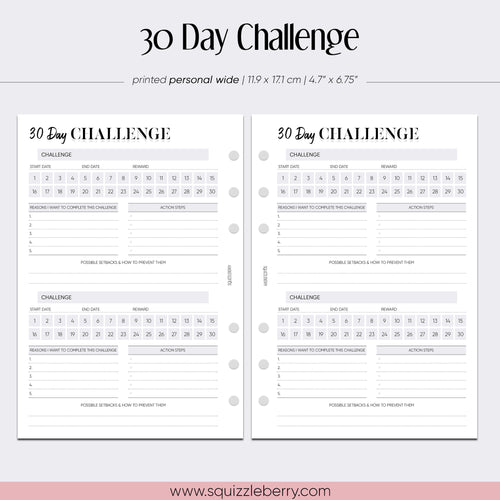 30 Day Challenge - Personal Wide | SquizzleBerry