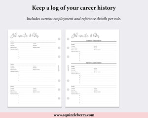 job history cv planner worksheet printed personal wide pages