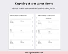 Load image into Gallery viewer, job history cv planner worksheet printed a5 pages