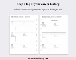 job history cv planner worksheet printed a5 pages