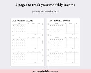 Dated - Monthly Income Tracker - Personal Wide