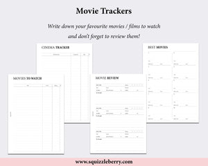 movies to watch movie review planner inserts