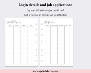 job website login applications personal wide planner