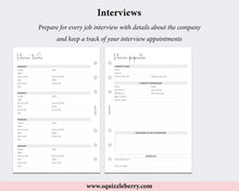 Load image into Gallery viewer, interview preparation worksheet personal wide planner inserts