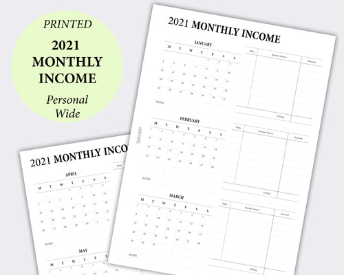 Dated - Monthly Income Tracker - Personal Wide | SquizzleBerry