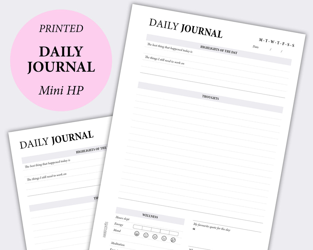 daily journal thoughts planner inserts in mini hp