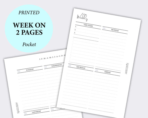 week on two pages pocket planner inserts minimalist