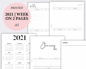 2021 dated week on two pages planner inserts in a5