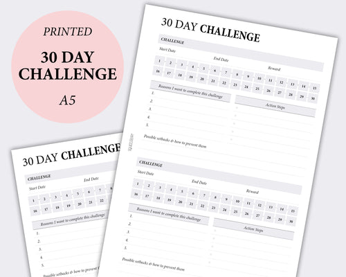30 day challenge planner inserts | Squizzleberry