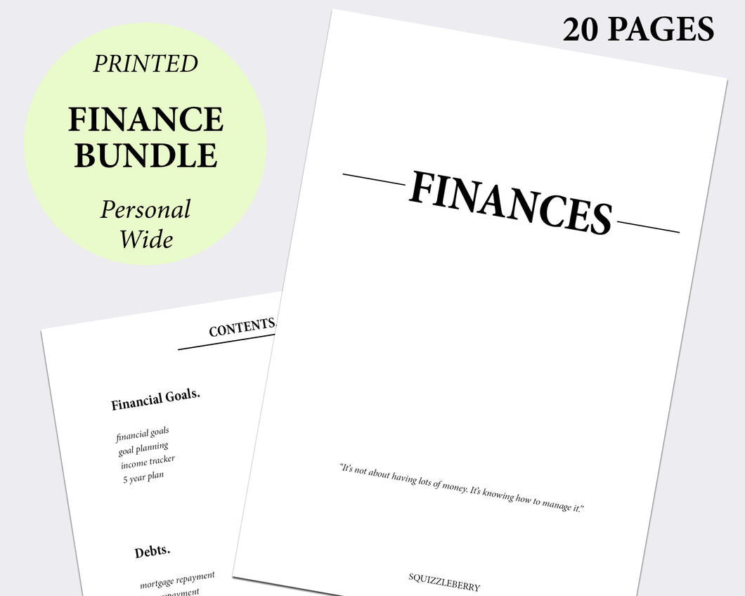finance planner template inserts minimal personal wide