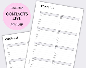 contact list planner inserts minimal happy planner