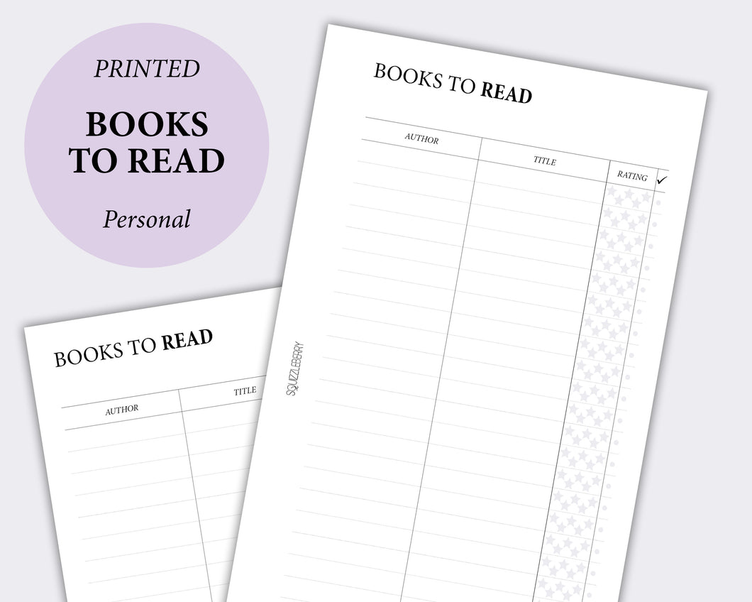 books to read book list planner inserts in personal size