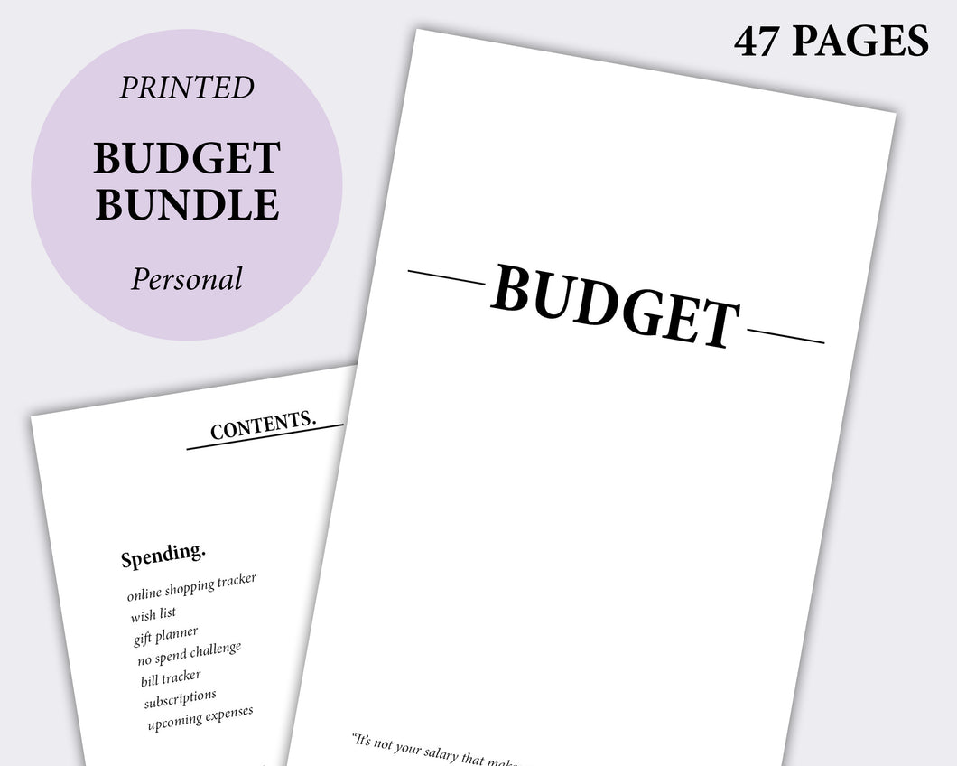 minimalist planner budget bundle personal size inserts