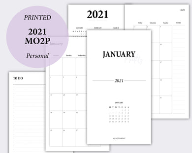 2021 month on two pages planner insert calendar