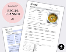 Load image into Gallery viewer, Editable Recipe Planner - Printable