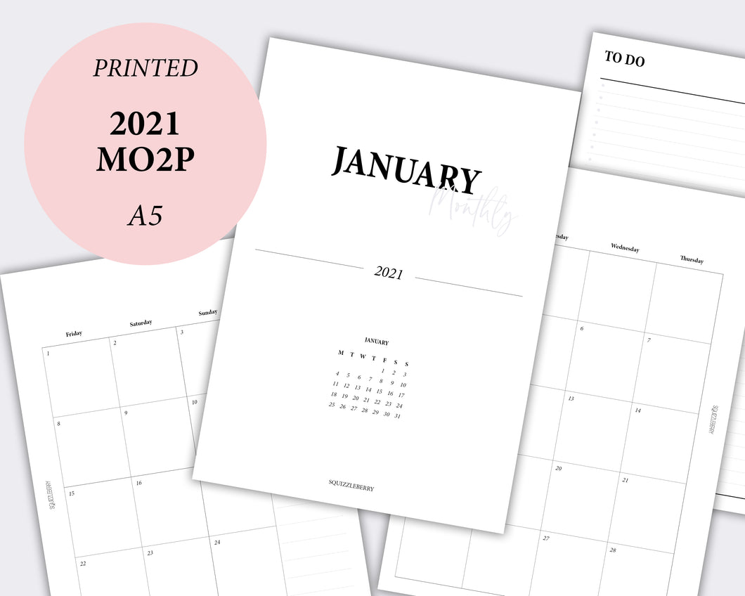 mo2p month on two pages planner calendar 2021