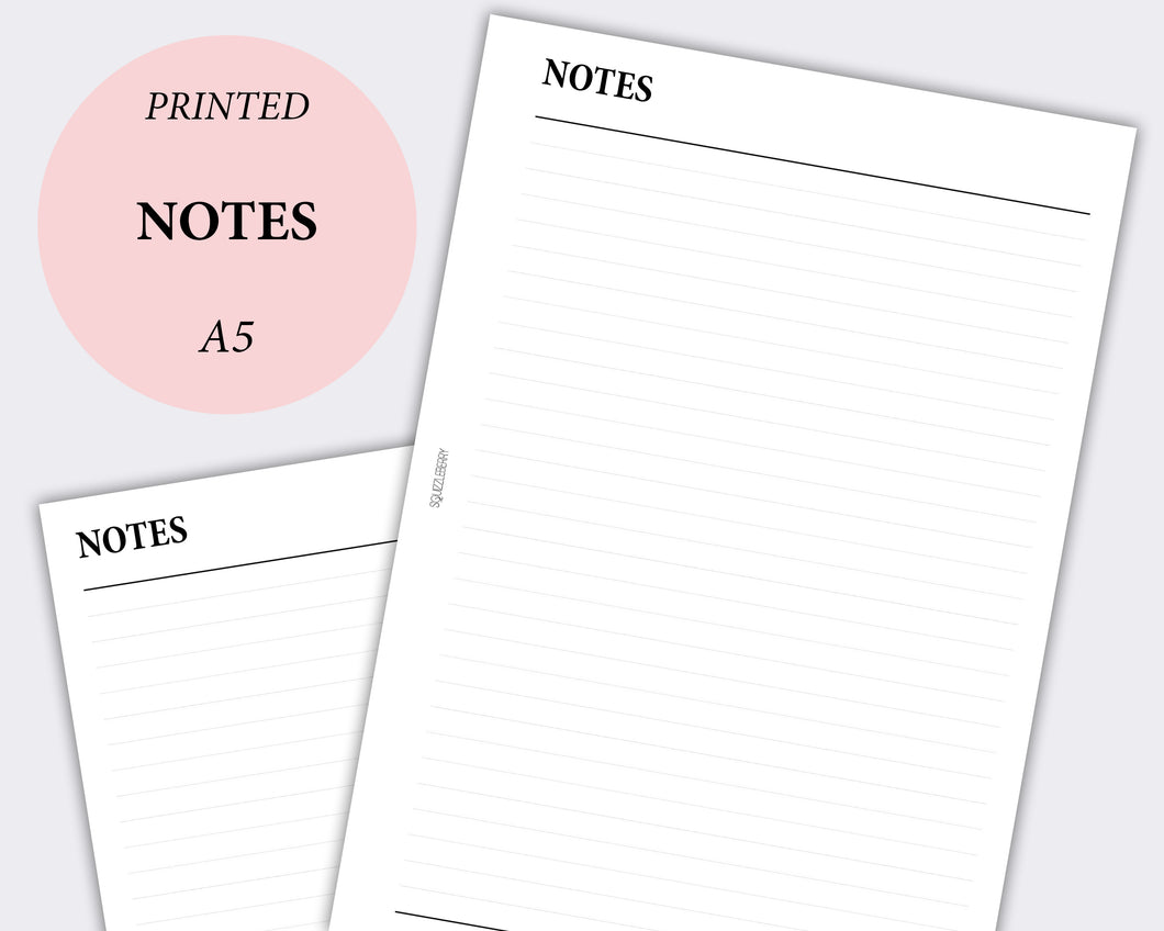 notes pages planner inserts a5 minimal