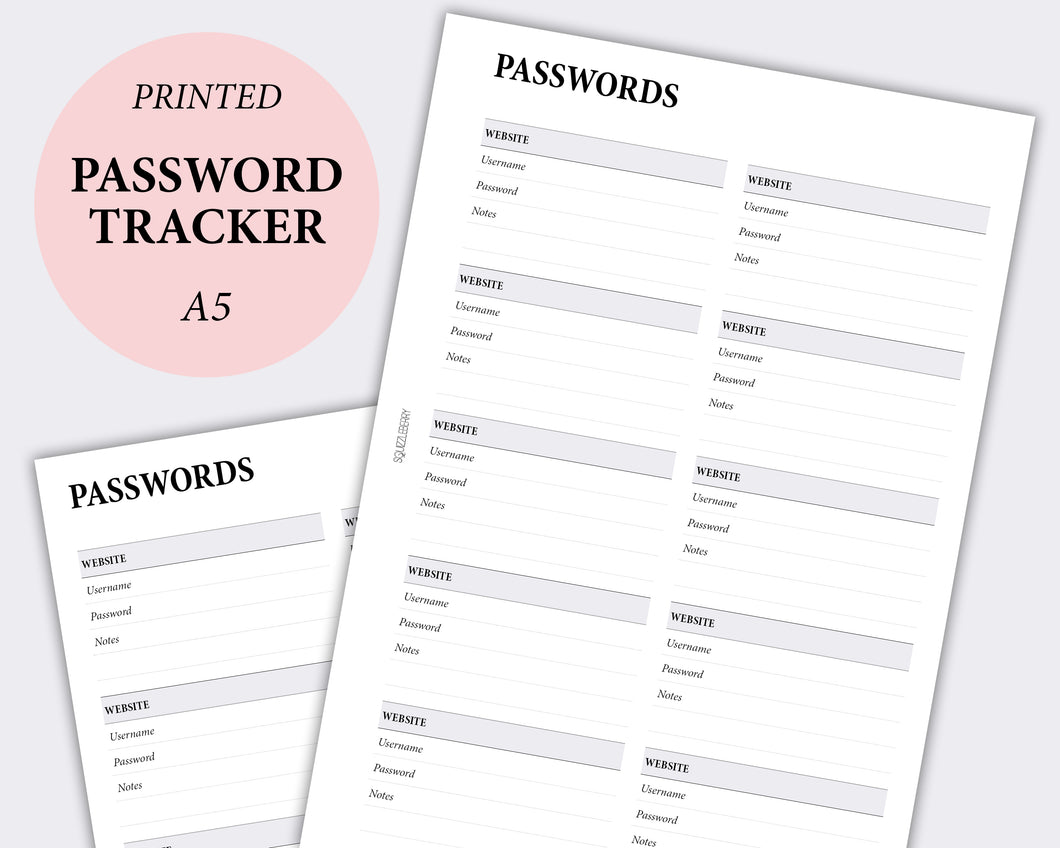 Password Tracker - A5 | SquizzleBerry