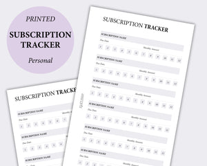 minimal subscription tracker planner inserts personal