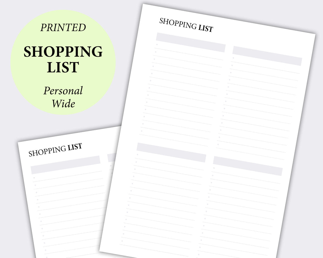 minimal shopping list personal wide planner