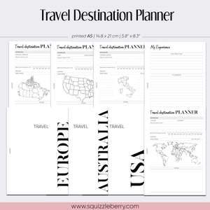 world map travel destination planner inserts