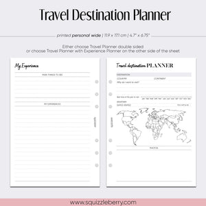 Travel Destination Planner with Dashboards - Personal Wide | SquizzleBerry
