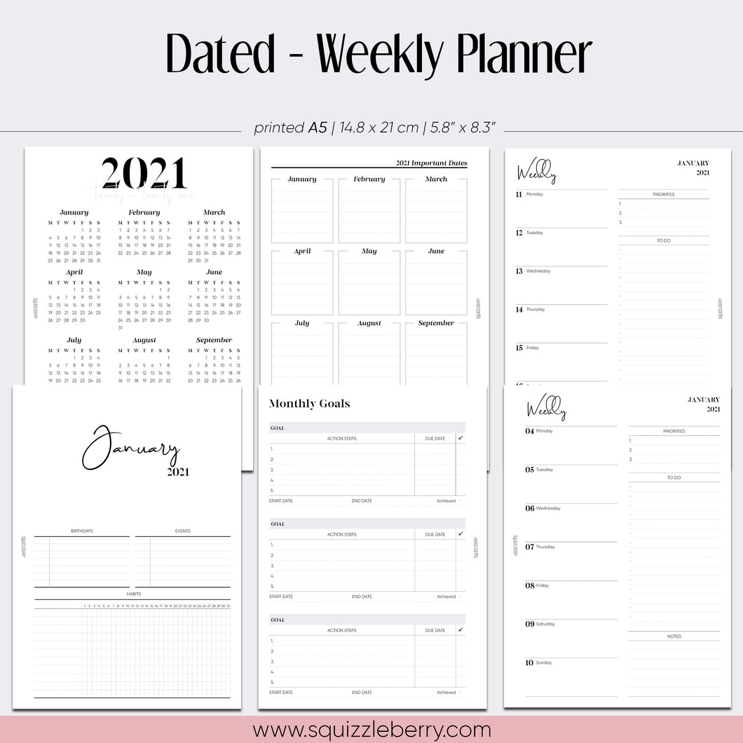 Dated - Weekly Planner - A5 | SquizzleBerry