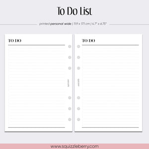 to do list minimal planner insert in personal wide