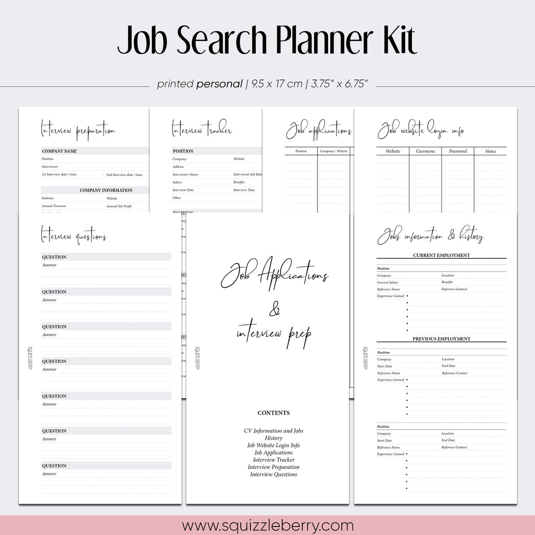 job search application interview planner personal inserts