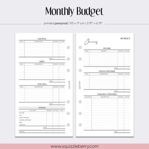 minimalist monthly budget tracker personal planner